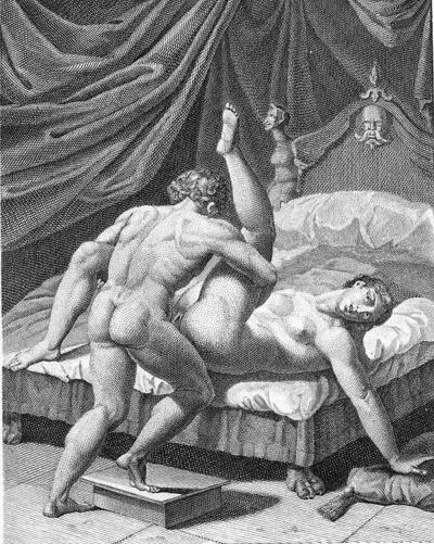 Секс на кровати с подставочкой. эротика и секс в старинной гравюре. галерея