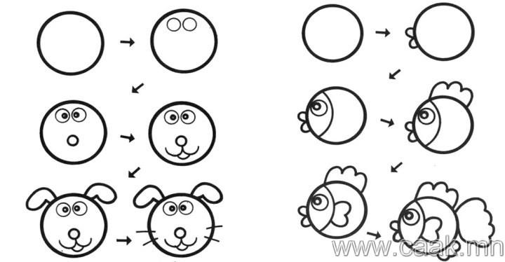 Lobos Perros Siluetas Mamíferos: Хүүхдэдээ амьтан зурж сургах